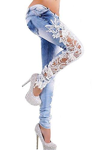 Femmes Denim Jambires Pantalon De Patchwork Lightblue Jeans Lace Sexy Les Pantalon pY8d1qRp