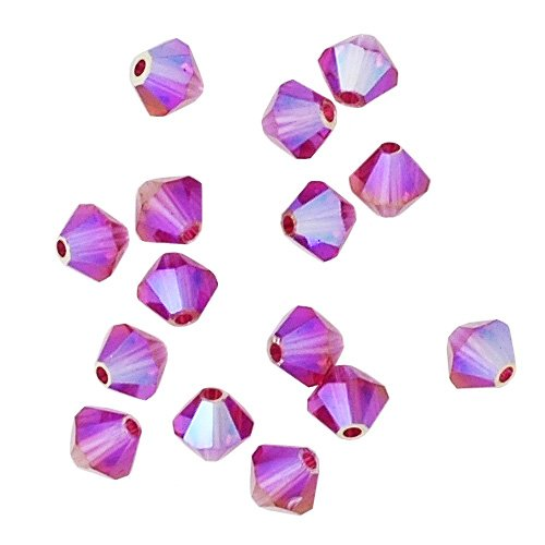 Ab 5301 Bicone - 100 pcs 4mm Swarovski 5301 Crystal Bicone Beads, Fuchsia AB 2X, SW-5301
