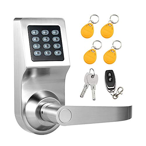 Colosus NDL302 Keyless Electronic Digital Smart Door Lock, Keypad - Smartcode Security, Grant & Control Access for Home, Office (Silver - 4 Key Fobs)