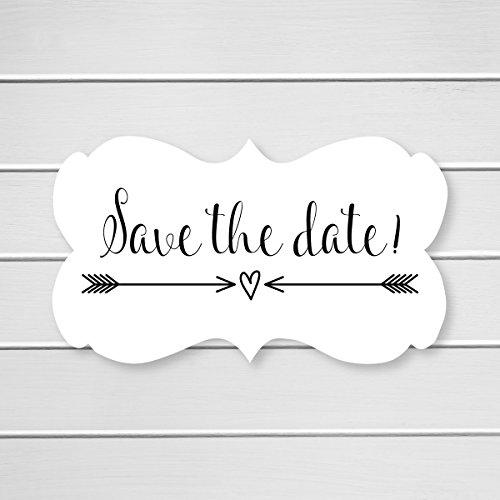 36- Save The Date Wedding Envelope Seals (#366) (Black) by Orange Umbrella Co