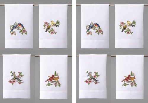 Helen Vladykina ''Cherry Blossom Love Birds'' Embroidered Guest Hand Towel 14'' x 22'' Two Sets of 4 Designs