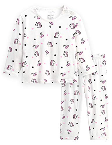 (Kids Pajamas Children Long Sleeve Pajamas for Boys Girls Unisex Cotton Pjs Summer Sleepwear Set Size 2T 3T 4 5 7 8)