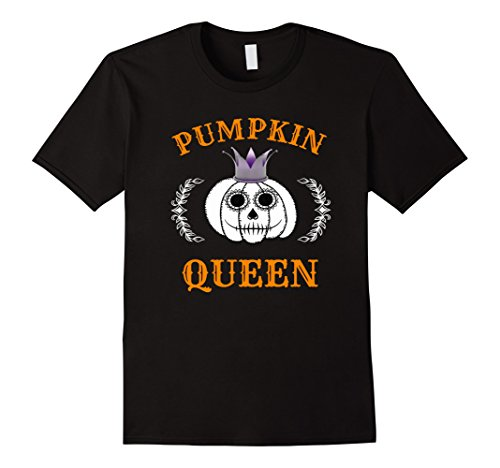 Mens Pumpkin Queen Halloween Shirt with Day of the Dead Makeup Small Black