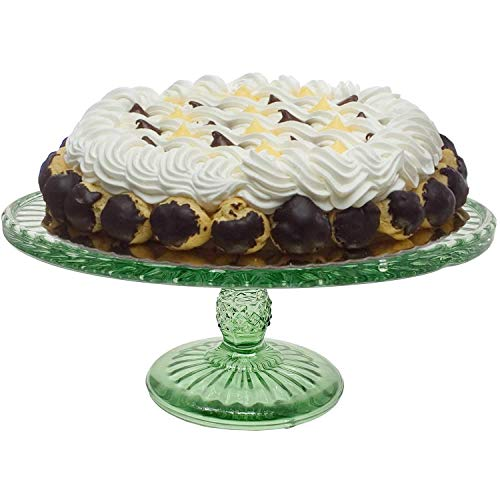 Classic 9-Inch Clear Glass Cake Stand Self Design-Glass Decorative Gift for Wedding Birthday Novelty-Green