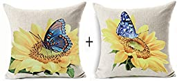 Set of 2 Cotton Linen Square Decorative Throw Pillow Case Cushion Cover Natural Yellow Sunflower and Blue Butterfly Print 18 \