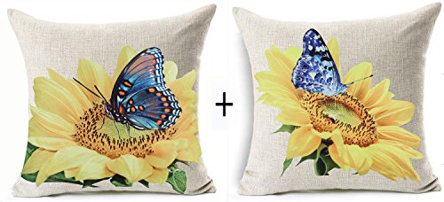 Set of 2 Cotton Linen Square Decorative Throw Pillow Case Cushion Cover Natural Yellow Sunflower and Blue Butterfly Print 18