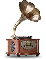 LuguLake Vintage Phonograph, Retro Turntable Gramophone Record Player with Copper Horn, Remote Control, Built-in BT 4.0/Subwoofer/3.5mm Aux-in/ USB/FM
