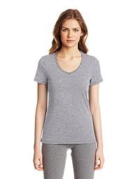 Nautica Sleepwear Women\'s Knit Jersey V-Neck Tee, Ash Heather, X-Large