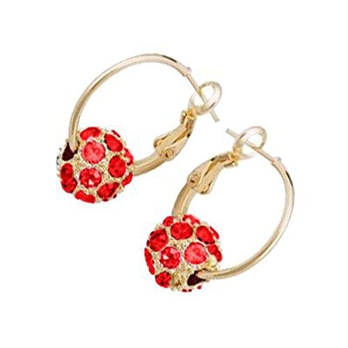 Créoles à la Mode, Plaquées en Or Rose de 18K, Billes de Cristal Rouges Rubis avec Strass sertis en Pavé, 25mm de Diamètre