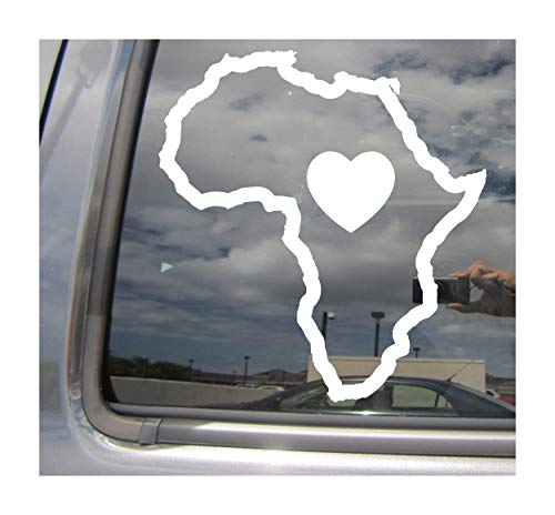 Right Now Decals Africa Continent Heart Love Outline - Dark Continent Safari - Cars Trucks Moped Helmet Hard Hat Auto Automotive Craft Laptop Vinyl Decal Store Window Wall Sticker 07102