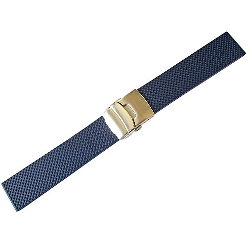 Bonetto Cinturini 20mm Blue Rubber Watch Strap Model 300D