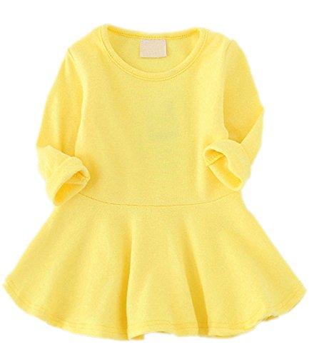 GSVIBK Baby Girls Cotton Dress Toddler Infant Ruffles Cotton Dresses Long Sleeve Solid Ruffle Dress Yellow 476 80