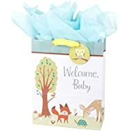 Hallmark Extra Large Gift Bag with Tissue Paper for Baby Showers, New Parents and More (Woodland Animals)