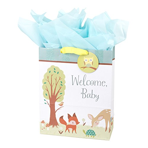 Hallmark Extra Large Gift Bag with Tissue Paper for Baby Showers, New Parents and More (Woodland Animals) -