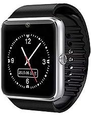 gt08 ساعة ذكية للهواتف الذكية مع بطاقة SIM وبطاقة ذاكرة (بلوتوث، عداد الخطوات ومضادة للخدوش، كاميرا)-اسود