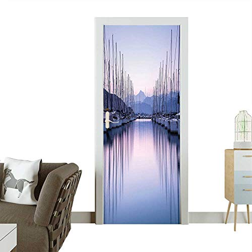 Homesonne Door Sticker WallpaperLarge Yacht Harbor in Sunrise Light Cruise Leisure Summertime Active Life Fashion and Various patternW38.5 x H79 INCH ()