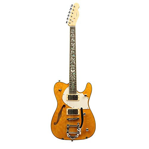 ZUWEI Semi-Hollow-Body Electric Guitar Custom Series – Maple Top & Canada Maple Neck, Silver Hardware Trans Yellow