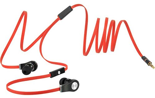 Pleasant Amazon Com Tangle Free Flat Wire Red Stereo Headphones Built In Wiring Cloud Nuvitbieswglorg