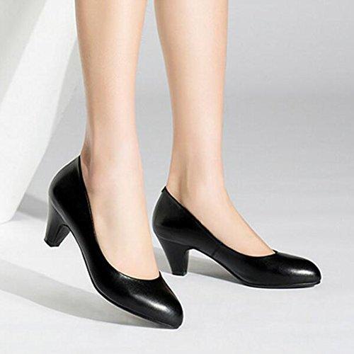 en Professionnelles à femme 5 EU37 Hauts Couleur l'air 5cm Chaussures de Cuir Chaussures Talons 5 Taille Noir 7CM CJC UK4 Interview Chaussures Hôtesse Sxgqp86