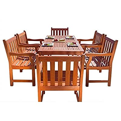 VIFAH V98SET26 Outdoor Seven-Piece Wood Dining Set with English Garden Rectangular Dining Table and 6 Armchairs