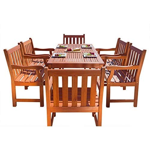 VIFAH V98SET26 Outdoor Seven-Piece Natural Eucalyptus Wood Dining Set with English Garden Rectangular Dining Table and 6 Armchairs ()