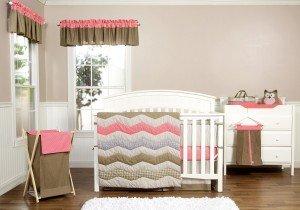 Cocoa Coral 3 Piece Crib Bedding Set for Baby Girl