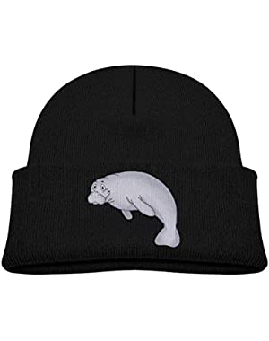 Kids Knitted Beanies Hat Manatee Winter Hat Knitted Skull Cap for Boys Girls Gray