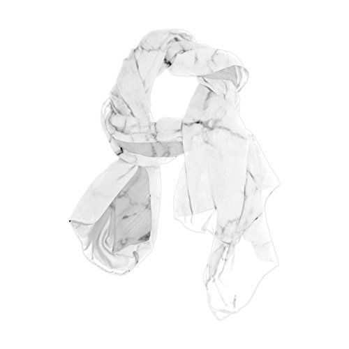 Cooper girl White Marble Silk Scarf Shawl Wrap for Women Girls
