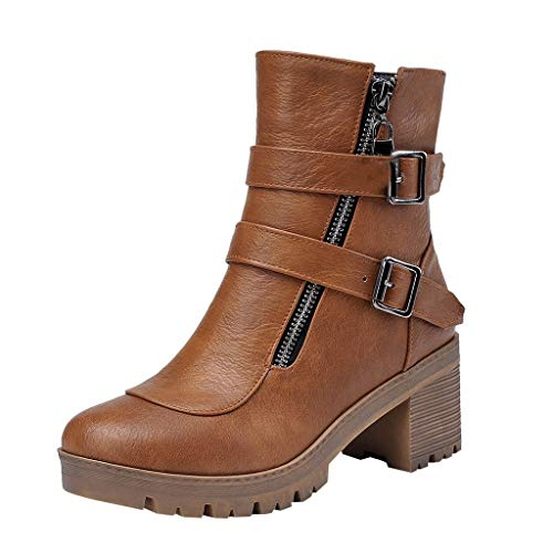 Aunimeifly Women's Autumn Retro Bare Boots Ladies Double Belt Ankle Buckle Short Booties Casual Square Thick Heel Shoes ()