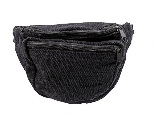 Bauchtasche schwarz Baumwolle mit Innenfach