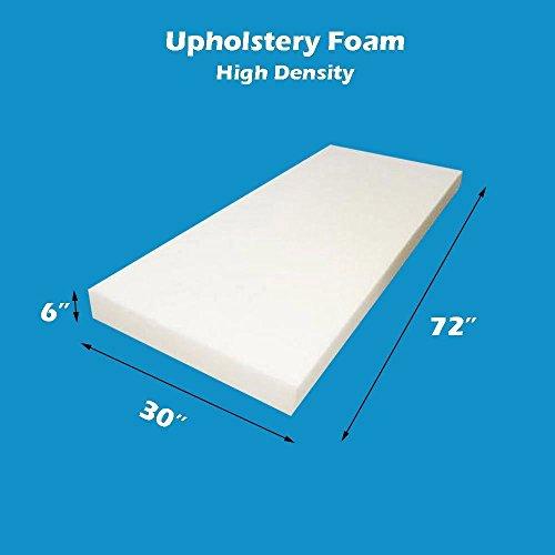 "Mybecca 6"" x 30"" x 72"" inches Upholstery Foam Cushion High Density (Seat Replacement , Upholstery Sheet , Foam Padding) -  6x30x72HDF (Mybecca)"