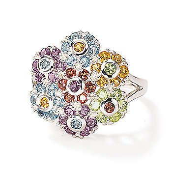 Sterling Silver Multi Gem Flower Cluster Ring (Size 8)