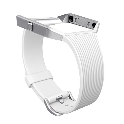 For Fitbit Blaze Slim Bands with Frame, GHIJKL TPU Replacement Sport Strap with Silver Frame for Fitbit Blaze Smart Fitness Watch, Large Small, - X Silver Blaze