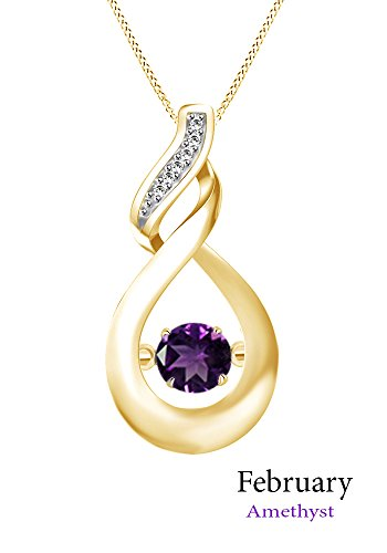 Jewel Zone US 0.13 Ct Dancing Simulated Amethyst Infinity Loop Pendant Necklace in 14K Yellow Gold Over Sterling Silver