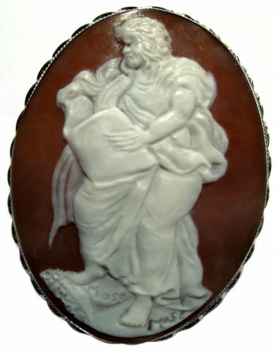 Artistic Cameo Pin Pendant Italian Sterling Silver Master Carved Sardonyx Shell Cameo Italian Pin Pendant
