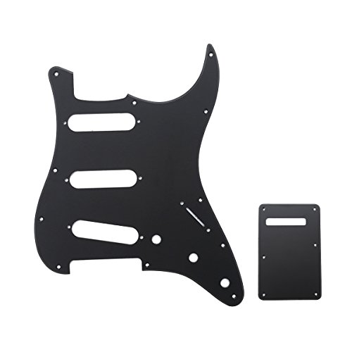Musiclily SSS 11 Hole Strat Electric Guitar Pickguard and BackPlate Set for Fender USA/Mexican Made Standard Stratocaster Modern Style Guitar Parts,1Ply Matte Black