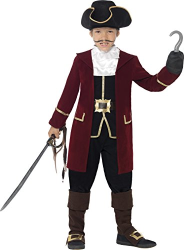 Red Pirate Captain Costumes (Smiffy's Deluxe Pirate Captain Costume,  Jacket,  Mock Waistcoat, Trousers, Neck Scarf & Hat, Color: Red and Black, Ages 10-12, Size: Large, 43997)