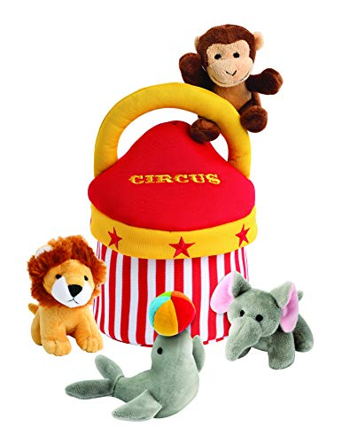 Plush Circus Animals Sound Toys with Carrier | Plush Animal Toy Baby Gift | Toddler Gift (Circus Friends) (Circus Toys)