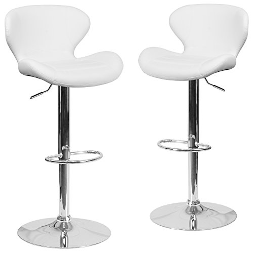 Flash Furniture 2 Pk. Contemporary White Vinyl Adjustable Height Barstool with Chrome ()