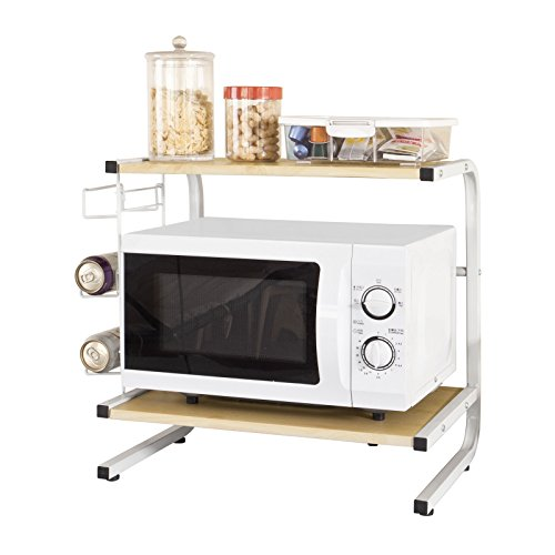 SoBuy® Mensola per forno a microonde, Carrello da cucina,Mensola angolare, in metallo e legno,beige, bianco,FRG092-N,IT