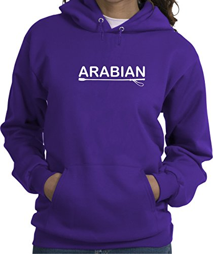 Arabian Horse Lover Purple Hoodie with Soft Finish Lettering (Arabian Sweatshirt)