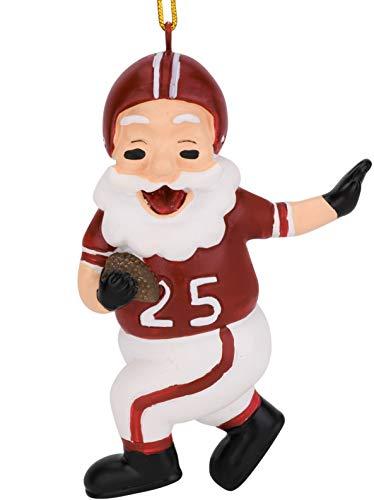 (Tree Buddees Touchdown Santa Christmas Sports Football Ornament (Dark Red & White))