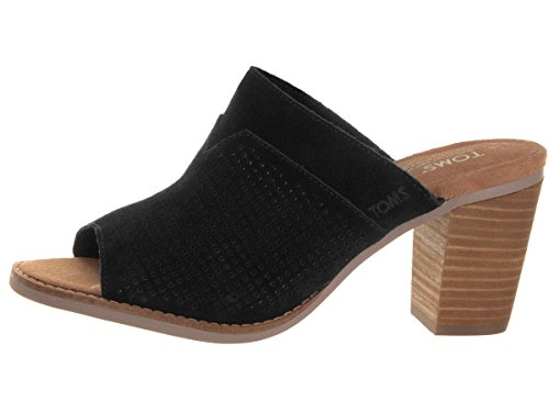 Suede Toe Open Majorca Toms Black Suede Mules Perforated Womens azvqZ
