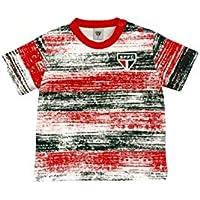 Rêve D'or Sport - Camiseta Listras Craqueladas São Paulo Menino, 3, Branco/Vermelho