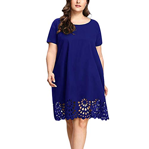 iLUGU Plus Size Fashion Women Solid Short Sleeve O-Neck Hollow Out Casual Dress