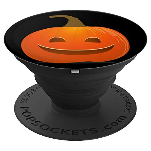 Cute Jack O Lantern Orange Pumpkin Halloween Spooky Face - PopSockets Grip and Stand for Phones and Tablets]()