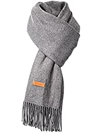 Duo Cashmere Scarf for Womens Mens Super Soft Fashion Long Tassel Blue Scarf(80.7X25.6 in (Gray)