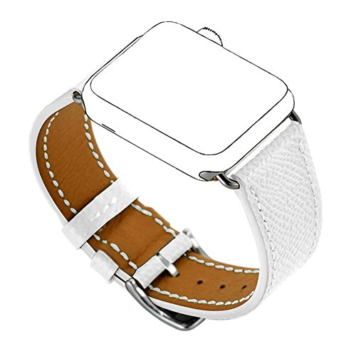 Maxjoy Compatible with Apple Watch Band, Genuine Leather Bands 42mm 44mm Strap Replacement Wristband with Metal Clasp Compatible with Apple iWatch Series 4 3 2 1 Sport Edition, White