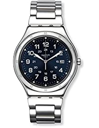 SWATCH MEN'S STEEL BRACELET & CASE SWISS QUARTZ BLUE DIAL ANALOG WATCH YWS420G