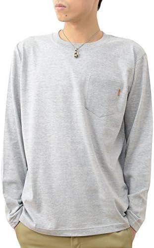 長袖 革タブ付 ポケT オリジナル 本革 タブ アクセント 無地 ポケット Tシャツ ロンT メンズ レディース 大きいサイズ PKLT-L1